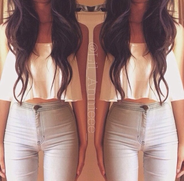 jeans shirt blouse top highwasted bottoms high waisted jeans