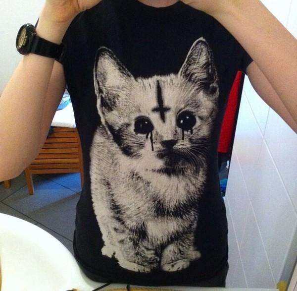 shirt cats cats black satan goth goth upside down cross
