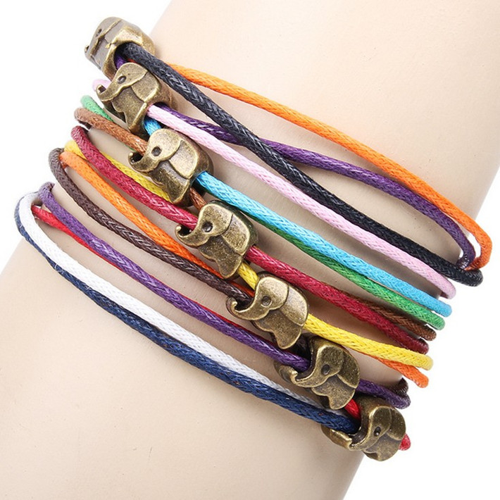 Retro bronze alloy jewelry accessories handmade diy cute little elephant colorful wax rope braided-in Wrap Bracelets from Jewelry on Aliexpress.com