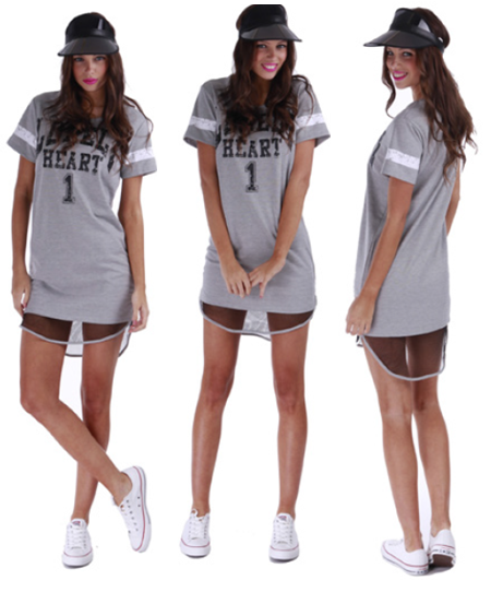 Lonely Hearts Mesh Dress in Grey | One Honey Boutique