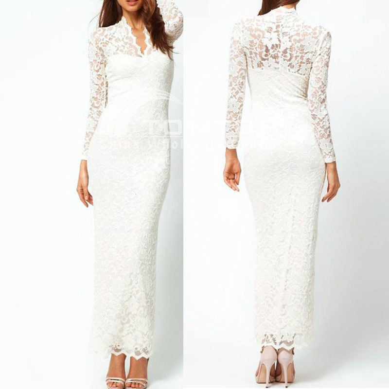 White Lace Scallop V Neck Pencil Long Maxi Cocktail Evening Dress Prom Party | eBay