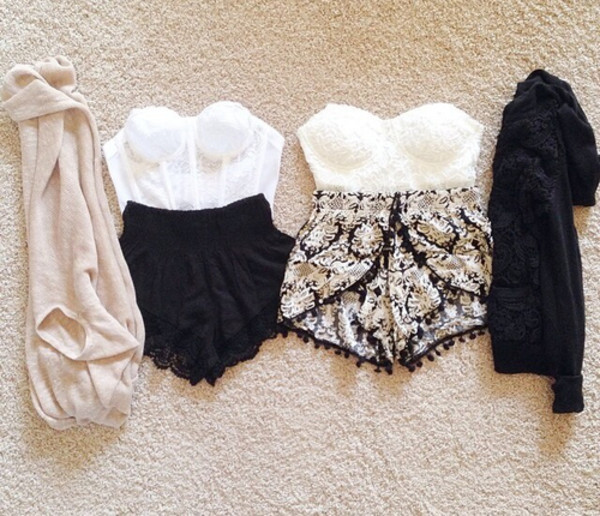 High waisted shorts crop tops cardigan outfit top blouse jacket