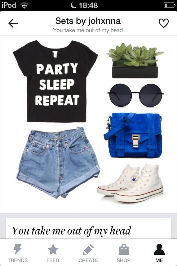 t-shirt shorts sunglasses