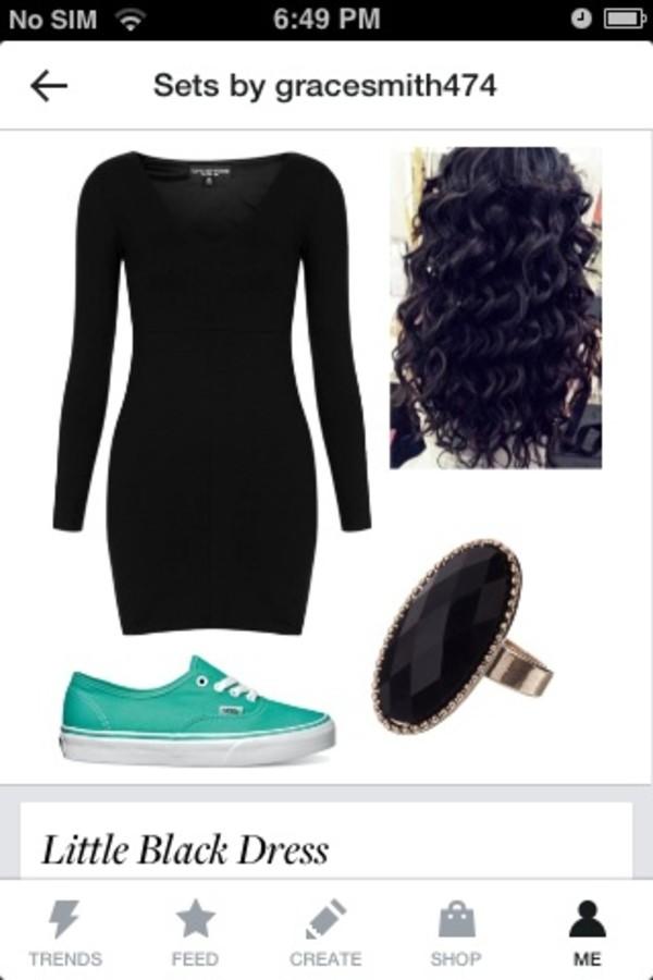 dress swag grunge vans curly hair hair black dress little black dress ring goth