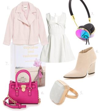 my blonde gal blogger pink jacket thick heel white dress headphones ring pink bag earphones jeans spring jacket