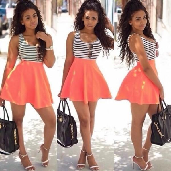 skirt dress shirt striped dress top pink dress style black dress white dress black bag with studs stripes summer dress pink short dress coral dress