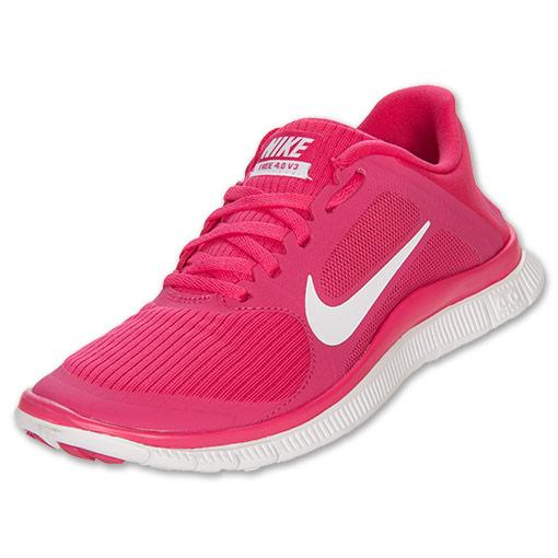 Women's Nike Free 4.0 V3 Running Shoes| FinishLine.com | Pink/White