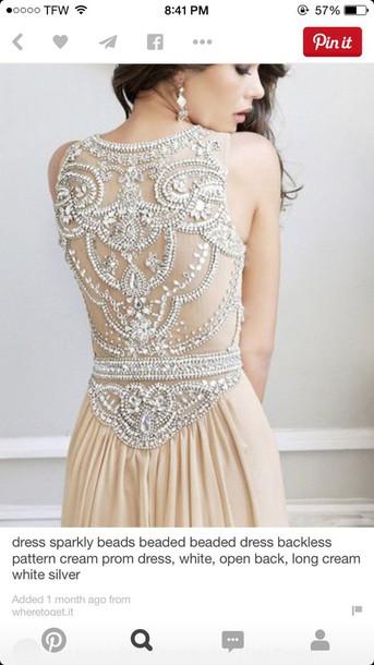 dress sparkle cream prom dress