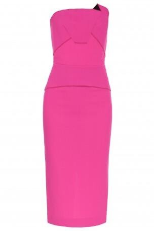 ROLAND MOURET - Pink Cicada Strapless Crepe Dress | Boutique1.com