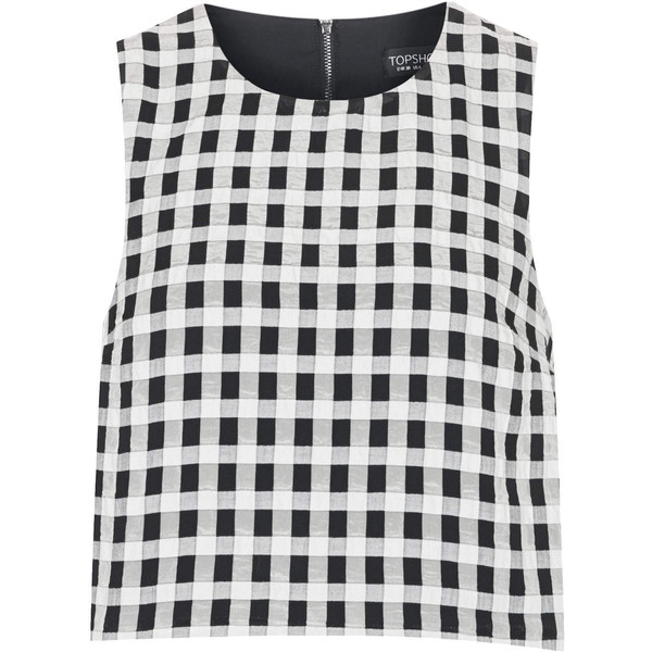 TOPSHOP Textured Gingham Shell Top - Polyvore
