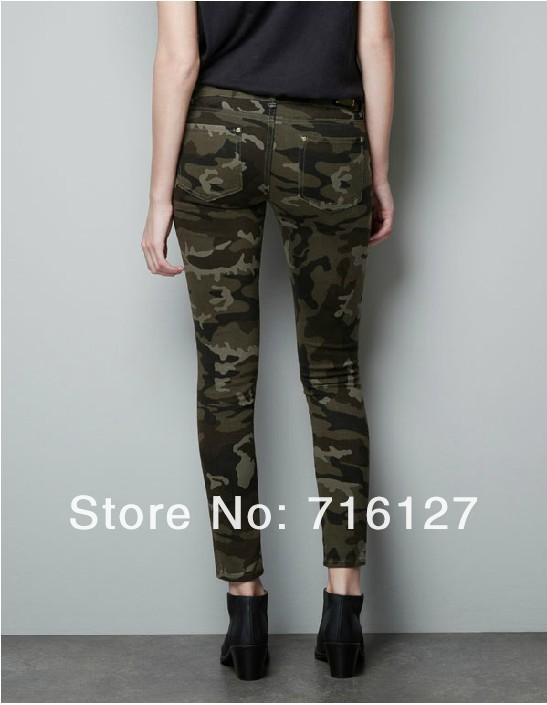 6 yards full  NEW skinny jeans women military camouflage pants uniform pants feet pencil pants trousers overalls camouflage-in Jeans from Apparel & Accessories on Aliexpress.com