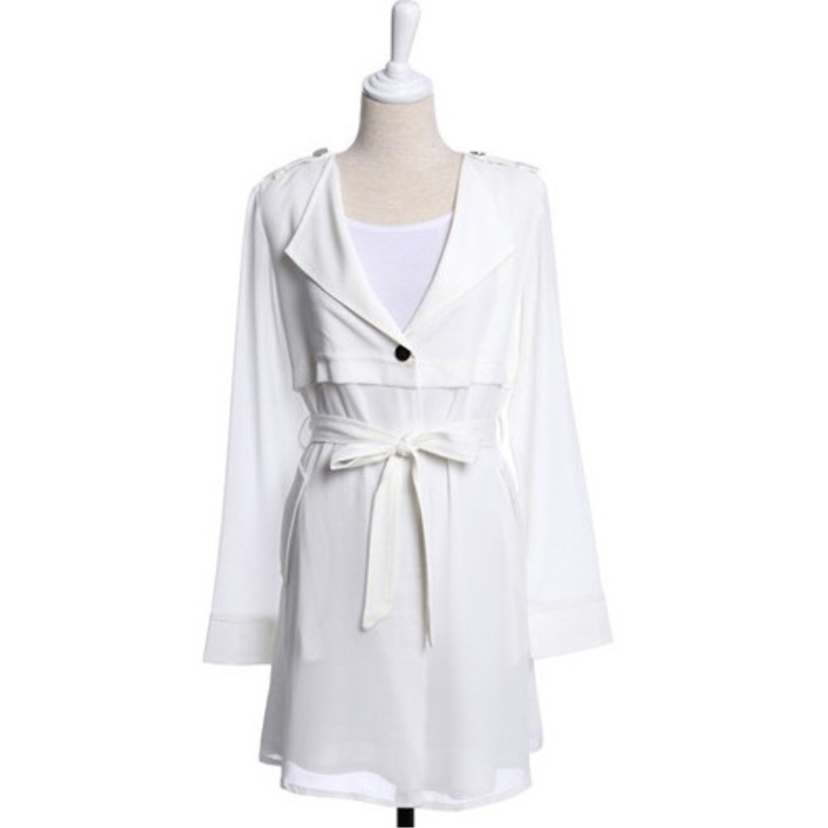 Plain Drawstring Waist Long Style Coat,Cheap in Wendybox.com