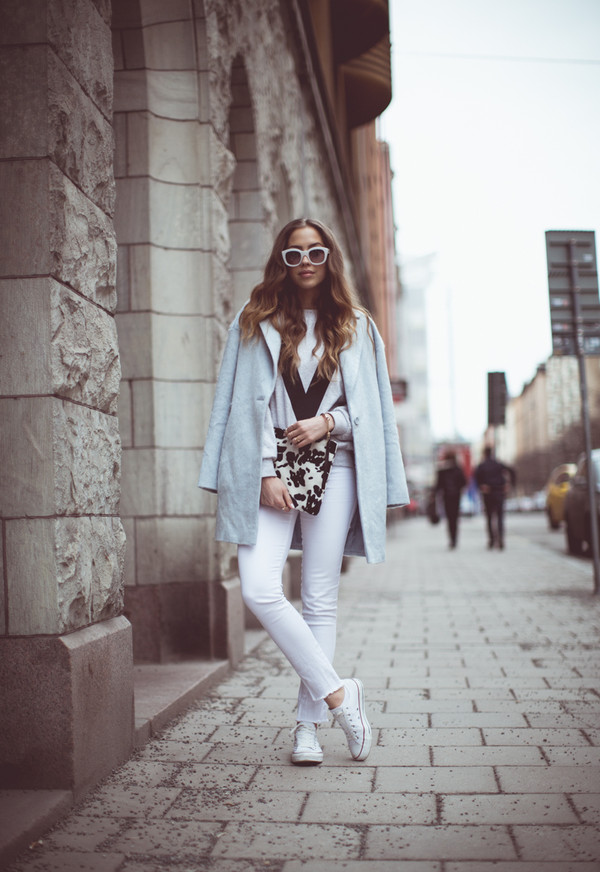 kenza sweater coat sunglasses jewels bag pants