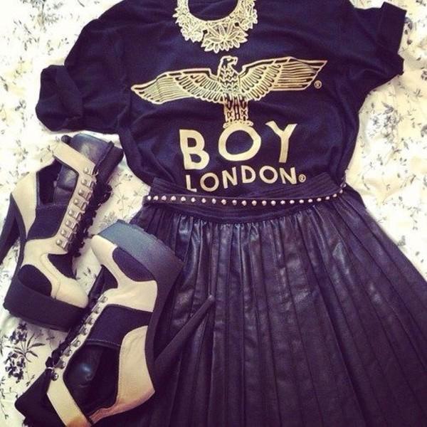 shirt t-shirt boy london skirt skater skirt black skirt jewels