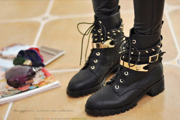 BLACK SKULL GOLD PLATED STUDDED BOOTS E745 - $55.00 : FASHIONVILLE ESTORES, The Art of E-commerce