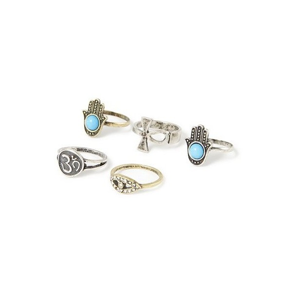 Inspirational Rings Set of 5 | Claire's - Polyvore