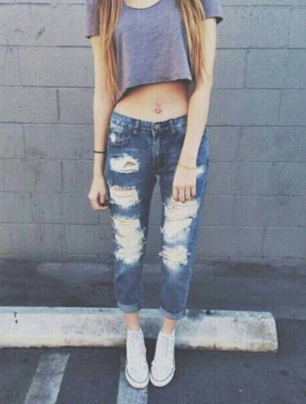 jeans boyfriend jeans crop tops converse cute top