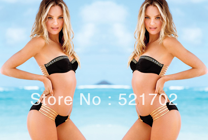 Free shipping  New Style  Noble Temperament Sexy woman's bikini with Shining Diamonds BLACK-in Bikinis Set from Apparel & Accessories on Aliexpress.com
