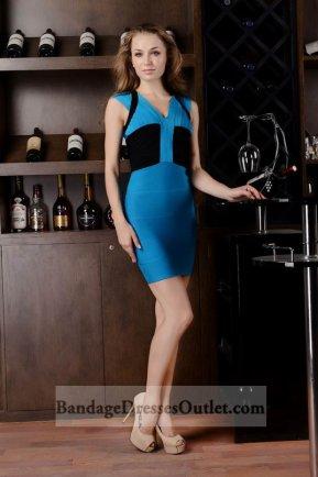Blue Black Color-blocked V-neck Bandage Dress Discount [Blue Black Color-blocked] - $160.00 : Cheap Bandage Dresses Online, Wholesale Price Bandage Dresses Outlet