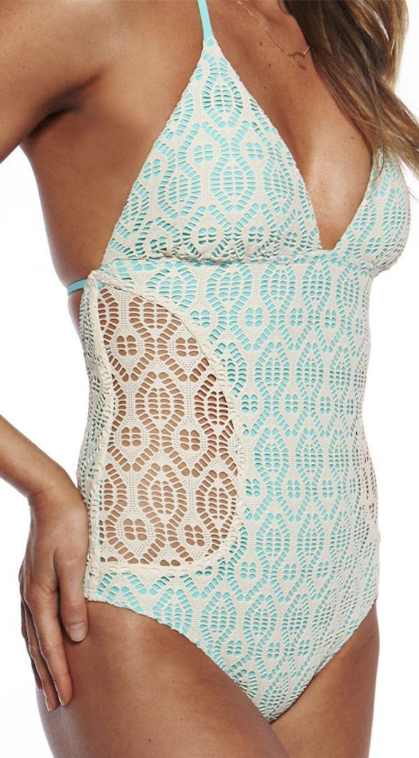 swimwear bikini swimwear crochet one piece swimsuit one-piece one piece swimsuit tiffany blue