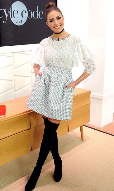 skirt blouse boots olivia culpo