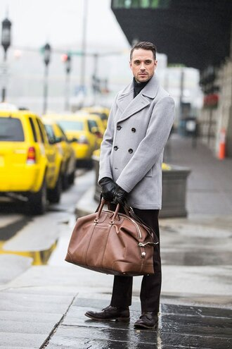 he spoke style blogger gloves grey coat mens bag maxi bag menswear travel bag mens accessories mens holdall