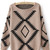 Khaki Long Sleeve Geometric Print Pullovers Sweater - Sheinside.com