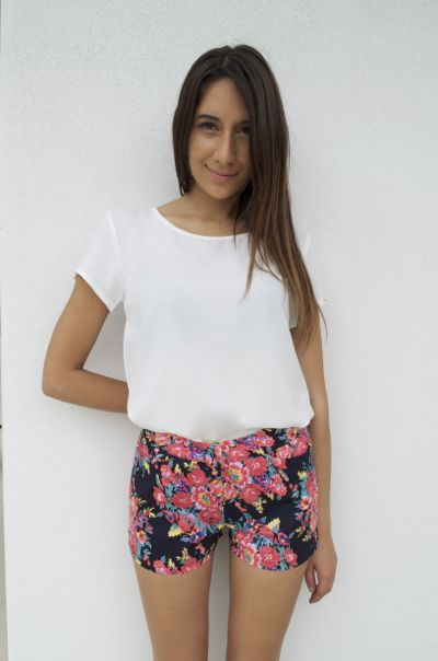 Blue Shorts - Navy Shorts with Floral Pattern   UsTrendy