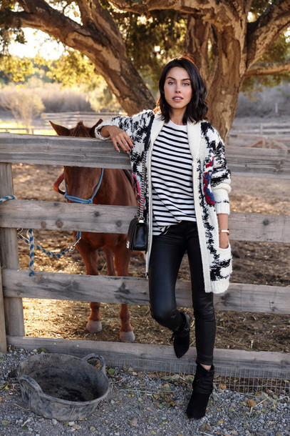 viva luxury blogger knitted cardigan leather pants stripes