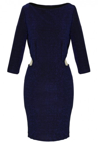 Metallic Detail Cut Out Dress in Blue - Retro, Indie and Unique Fashion