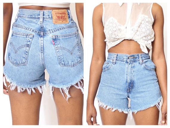Tutte le taglie tagliato LEVI Shorts a vita alta di ShopAudella