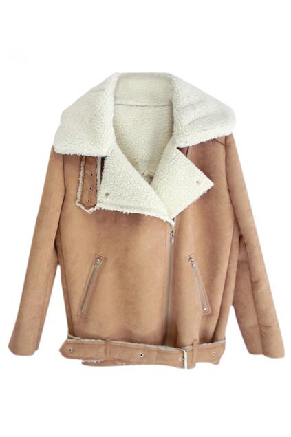 ROMWE   ROMWE Zippered Lapel Long Sleeves Khaki Coat, The Latest Street Fashion