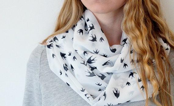 Infinity Birds print  poly / chiffon   scarf  great by aCutee