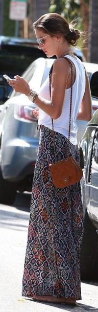 skirt maxi skirt print long skirt style summer outfits alessandra ambrosio