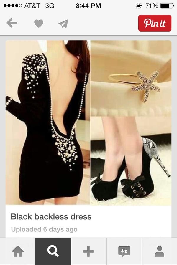 dress black pearl open back shoes