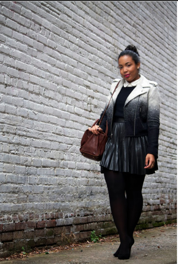 coat ombre black and white