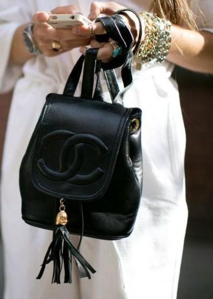 bag chanel bag backpack jewels jewelry cute white dress