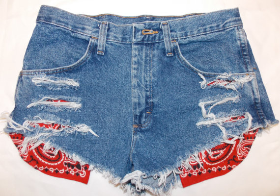 High Waisted Denim Vintage Red Bandana Pockets by VINTAGESHREDS
