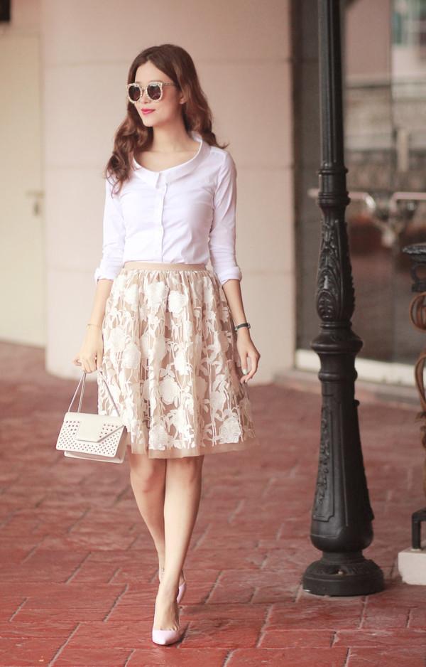 mellow mayo sunglasses skirt bag shoes jewels shirt dress