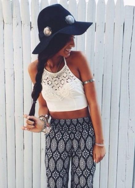 top and the pants blouse white crop top lace boho indie pants print pattern boho hat shirt leggings
