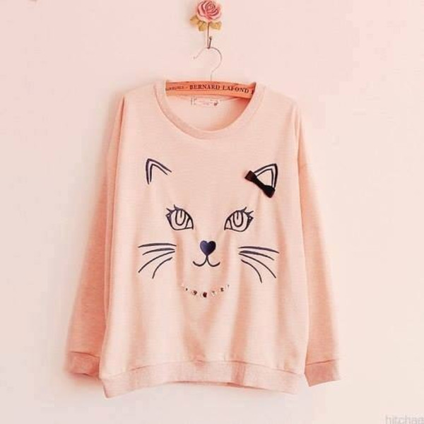 sweater cute sweater sweatshirt cats oversized sweater