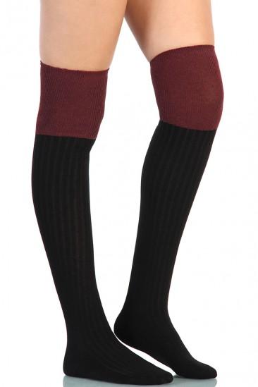 LoveMelrose.com From Harry & Molly | Two Color Knee High Socks - Burgundy / Black