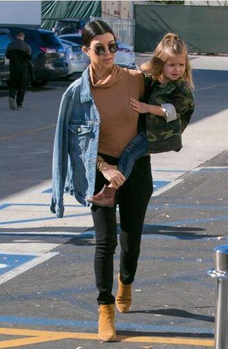 top turtleneck kourtney kardashian jeans ankle boots jacket denim jacket sunglasses fall outfits