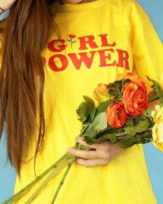 t-shirt yellow print printed t-shirt tumblr girl power tee