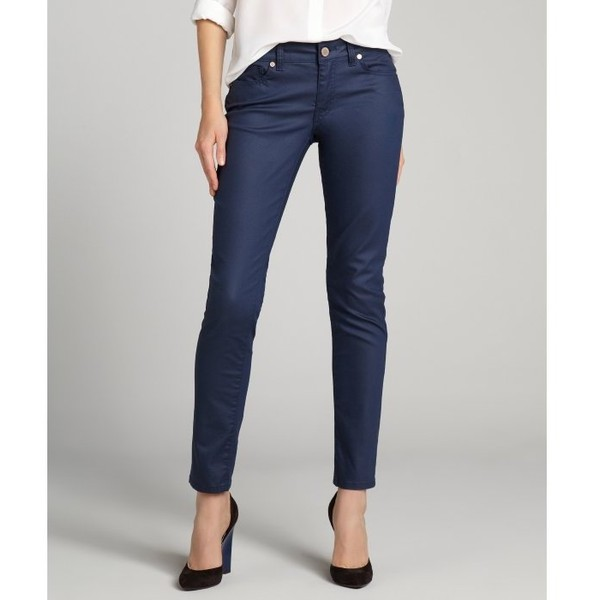 Romeo & Juliet Couture Navy Blue Coated Denim Skinny Jeans - Polyvore