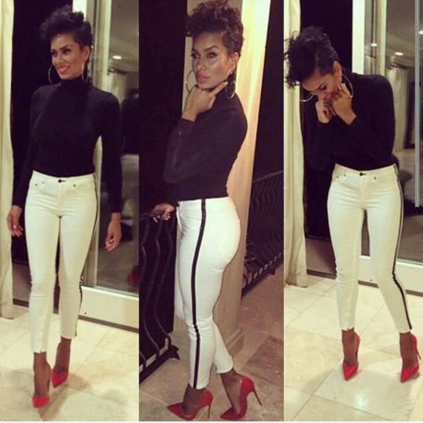 pants black stripe stylish style luxury chic edgy