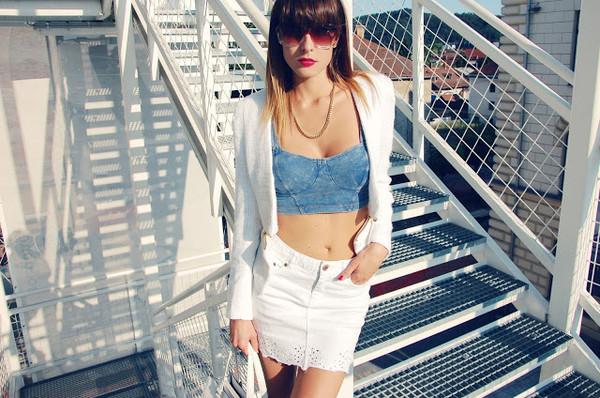 carolina krews jacket sunglasses skirt