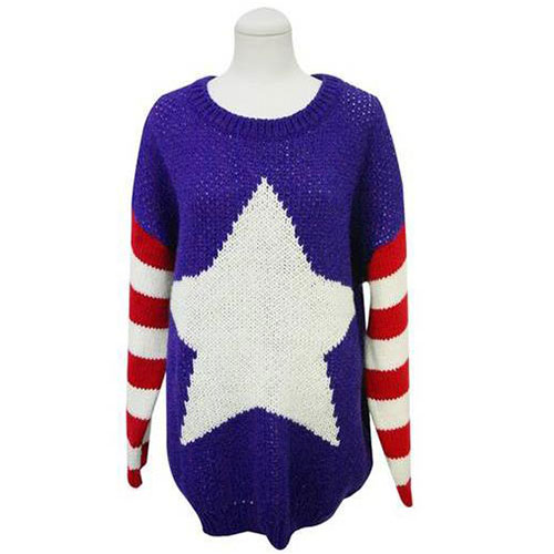 [grxjy560524]Leisure Chic Stripe Star Print Knit Oversize Sweater / brashycouture