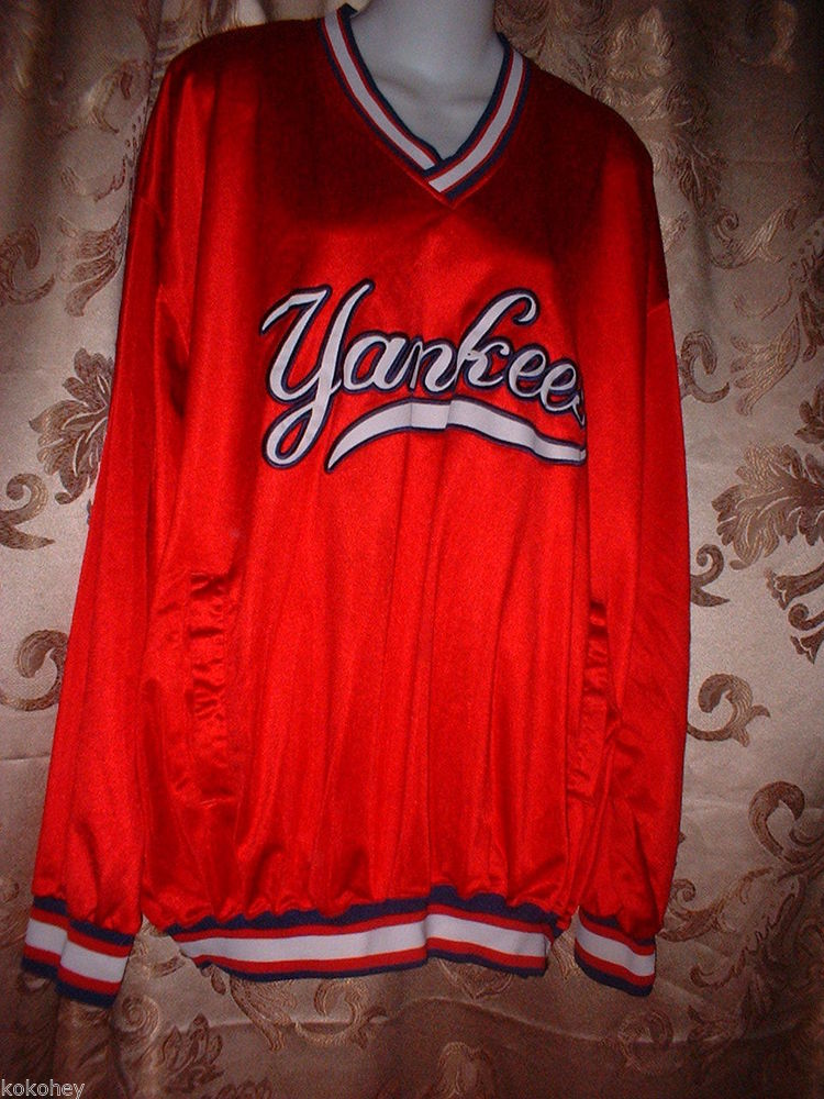 Starter NY New York Yankees MLB Baseball Red Long Sleeve Pullover Jersey XL | eBay