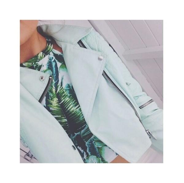 jacket palm tree print tank top blue jacket perfecto leather jacket pastel tropical zip cropped crop tops cropped jacket leave print palm tree print halter top pretty baddies coat tropical girly hippie boho bohemian dope hipster